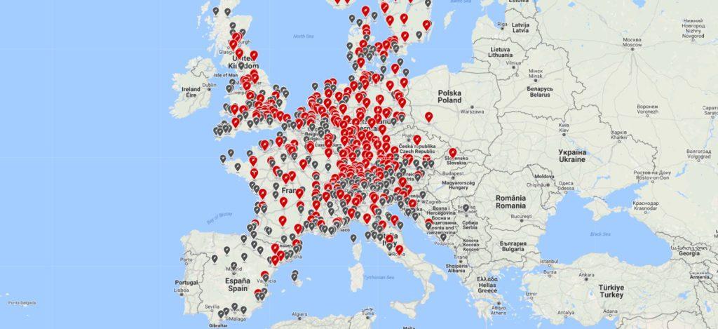 Nabíjacie stanice v Európe