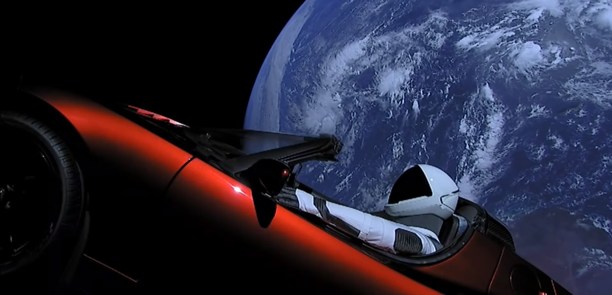 falcon heavy tesla roadster video
