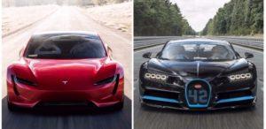 tesla roadster 2 vs bugatti chiron