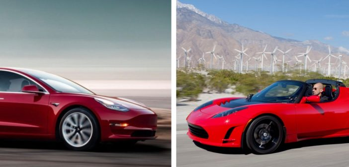 tesla roadster tesla model 3 drag race